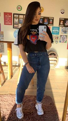 School Outfits, Girl Outfits, Looks Jeans, Justin Bieber, Mom Jeans, Ideias Fashion, Trousers, Ootd, My Style