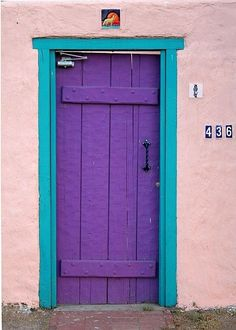 Purple by PeterJames, bright purple door with turquoise trim, salmon pink wall, pantone ultra violet, bright purple, dark purple