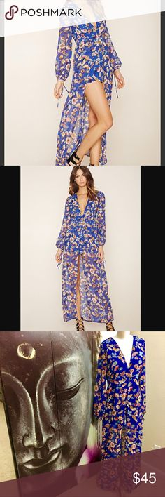 """Forever 21 Women's Blue Floral Maxi Skirt Romper A must have for Fall! A gorgeous royal blue woven romper featuring and a maxi skirt overlay, floral print, surplice neckline, long self-tie sleeves, and a concealed back zipper.    Measurements are approximate.  Laying flat:  Armpit to armpit: 19"""" Full Length: 58"""" Romper length: 29""""-31"""" Fabric: polyester Forever 21 Pants Jumpsuits & Rompers"""