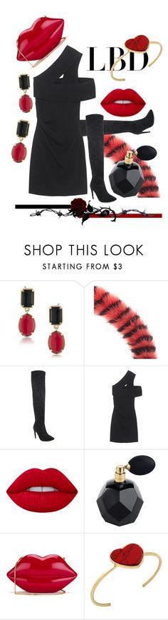 """""""Little Black Dress"""" by kari-c ❤ liked on Polyvore featuring 1st & Gorgeous by Carolee, Mary Katrantzou, Dsquared2, Lime Crime, Lulu Guinness and LBD"""