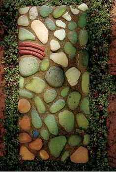 Pavers With Personality    Special stepping-stones add character to a garden path. Add some character of your own by embellishing common bricks with found objects. Or make your own concrete pavers with bas-relief images of flowers.