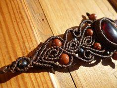 Bracelet macrame avec cornaline et aventurines, bracelet boheme, bracelet…