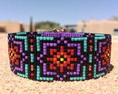 Rainbow Burst Bead Loom Bracelet Bohemian Boho by PuebloAndCo Bead Loom Patterns, Peyote Patterns, Bracelet Patterns, Beading Patterns, Loom Bands, Bead Loom Bracelets, Beading Projects, Loom Weaving, Beaded Embroidery