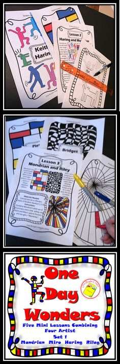Five one day lessons combining 4 different artists which gives each student a unique understanding of artists' styles. Great for sub work with no need for prep! Copy, distribute and go!  https://www.teacherspayteachers.com/Product/Art-Lessons-One-Day-Wonders-1-One-Day-Activity-on-Artists-Styles-2483969