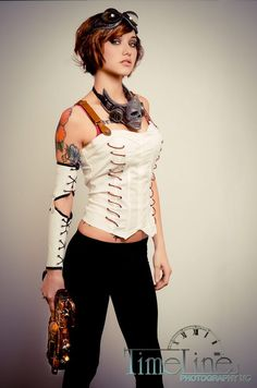 For Ronia. >black corset >replace skull necklace with????  #Steampunk #Fashion #Gasmask #Redhead