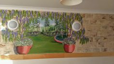 This relaxing mural is in the quiet sitting room, it is a narrow room but the eye is lead away to create a feeling of space. Sign Writer, Care Homes, Narrow Rooms, Mural Ideas, Mural Painting, Open Up, Murals, Clever, Environment