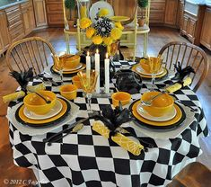 The Little Round Table: Black and White and Marigold All Over❤❤❤