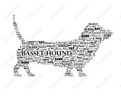 Basset Hound Word Art Calligram Dog Print. $14.99, via Etsy.
