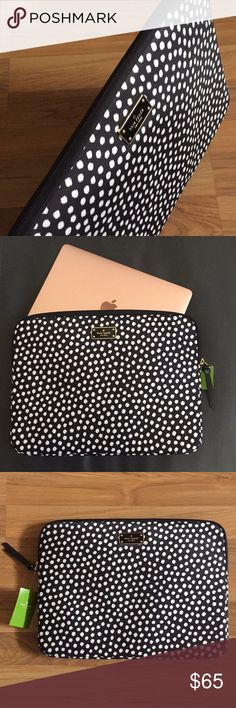 "Kate Spade Laptop Sleeve Blake Avenue Musical Dots BRAND NEW Kate Spade Blake Avenue Musical Dots Laptop Sleeve. This is the perfect lightweight case for a laptop, with padded interior and zippered closure. Black with white polka dots. Laptop case / sleeve / bag.   Dimensions: 14L x 10h. 16"" diagonally.   Laptop not included. kate spade Accessories Laptop Cases"