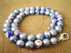 Gray 9-10mm freshwater pearl & cloisonne bead necklace