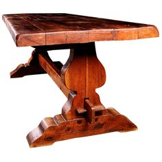 Beau French Antique Trestle Elmwood Farm Table