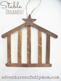 Cute cute stable ornament w/craft sticks. // Would be a great alternative for the stable ornament on day 14 of Preschool Christmas, Noel Christmas, Christmas Nativity, 12 Days Of Christmas, Christmas Crafts For Kids, Christmas Activities, Diy Christmas Ornaments, Christmas Projects, Holiday Crafts
