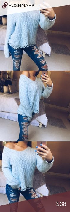 baby blue vintage sweater gorgeous powder blue knitted vintage sweater. this piece is sooo plush and soft! luxuriously made and so stunning on! sits on the body so flattering and beautifully! some minor pilling, unnoticeable when worn. size medium •• listed as free people for exposure 🌿 Free People Sweaters