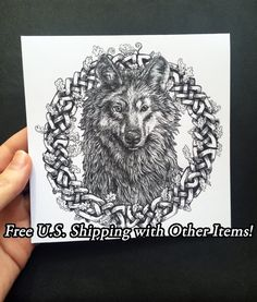 New to Atramentaria on Etsy: One (1) Original Gray Wolf Celtic Art Greeting Card - Celtic Knot Wreath Wolf Illustration Blank Greeting Card - Black and White Ink Drawing (2.75 USD)