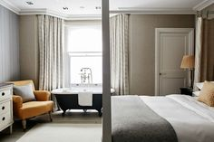 Guest Bedroom with luxury linen wallpaper and mustard upholstery Townhouse Interior, Townhouse Designs, Bedroom With Bath, Master Bedroom Design, Linen Wallpaper, Parsons Green, Victorian Townhouse, Victorian Terrace, Luxury Interior Design
