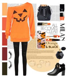 """""""Halloween Orange And Black"""" by xonfident ❤ liked on Polyvore featuring Oris, Bobbi Brown Cosmetics, L'Oréal Paris, Yves Saint Laurent, N°21, Casetify, Ted Baker and Butter London"""