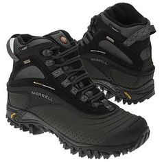 Merrell SnowMotion 8 Black boots. Have size 13, want 13 1/2 ?? for thicker socks. Waterproof. PrimaLoft 400 Gram Insulation. PolarTec. Continuum. OrthoLite comfort foam insoles, removable. Vibram soles.