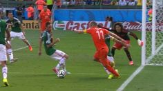 Arjen Robben goes down