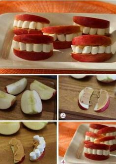 Eple, peanøttsmør (eller annet fast og seigt) og små marshmallows, kan også bruke nøtter