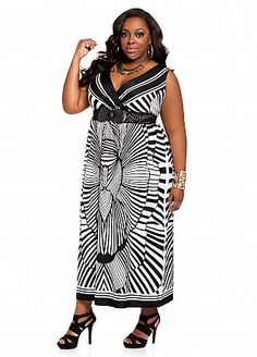 a017da352ca Ashley Stewart  Belted Double V-neck Abstract Print Maxi Plus Size Maxi