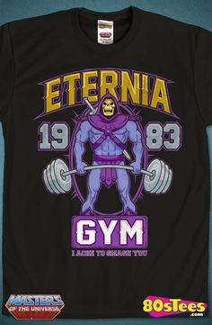 MOTU Eternia Gym Skeletor T-Shirt: MOTU Mens T-Shirt  MOTU Geeks:  The most popular sinister  celebrity in MOTU history. This men's style shirt is designed and skillfully illustrated and is a work of art. Great men's fashion t-shirt.
