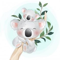 Koala Baby, Baby Raccoon, Baby Animal Drawings, Cute Drawings, Cartoon Mignon, Boat Cartoon, Art Mignon, Baby Unicorn, Mother And Baby