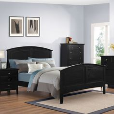 Myco Furniture Whistler Collection 60 Inch Full Size Panel Bed with Arched Headboard and Footboard, Tapered Legs, 4 Slats and Slat Supports, Tropical Hardwood and Veneer Construction in Black Finish Contemporary Bedroom Furniture, Modern Bedroom, Under Bed Storage Containers, Dresser Bed, Nightstand, 5 Piece Bedroom Set, Wooden Side Table, Full Bed, Architecture