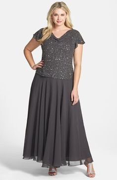 Bridesmaid - NORDSTROM  $278.00 J Kara Embellished Mock Two-Piece Gown (Plus Size) available at #Nordstrom