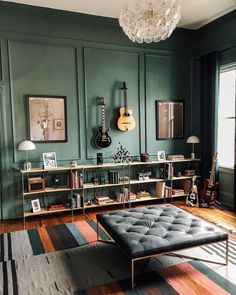 Let's spend the day surrounded by music 🎶 Photo via Home Music Rooms, Music Studio Room, Guitar Room, Piano Room, Home Office Design, House Design, Recording Studio Home, Home And Living, Family Room