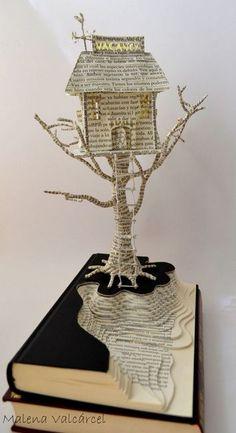 Book Paper Art Sculpture Tree of Life Custom order - Sculpture - Print the sulpture yourself - Haunted Hotel Book Art Book Sculpture Altered Book Origami, Paper Book, Paper Art, Book Crafts, Paper Crafts, Diy Crafts, Altered Book Art, Book Folding, Paper Folding