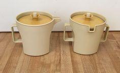 Vintage Tupperware Almond Sugar & Creamer Set 1414 1415 Push-Button Gold Lids