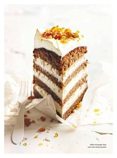 coffee ginger layer cake with almOnd praline