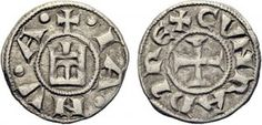 021---16-mm Генуэзская республика, денарий без даты (1139-1339 гг). Аверс: +IA NV A, реверс: CVNRADI REX (Конрада, короля)