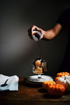 pumpkin ice cream with maple syrup and balsamic vinegar drizzle   A Brown Table
