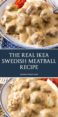 The Real IKEA Swedish Meatballs Recipe - Now you can make IKEA's Swedish Meatballs at home! recipes chicken recipes crockpot recipes easy recipes for dinner recipes healthy food recipes Swedish Meatball Recipes, Swedish Recipes, Ikea Swedish Meatballs Recipe, Sweedish Meatballs, Meat Recipes, Cooking Recipes, Albondigas, Food Now, Beef Dishes