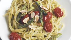 Linguine with Roasted Asparagus and Almond Pesto - Recipe - FineCooking