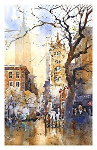 From Union Square by Iain Stewart Watercolor ~ 16 x 10.5