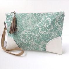 Aqua-lace-pattern-cotton-zipper-clutch