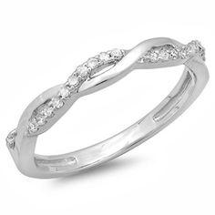14k White Gold 1/6ct Diamond Bridal Wedding Band Ring (I-J, I2-I3)