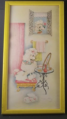 Vintage Mid Century POODLES Boudoir Picture Water Color