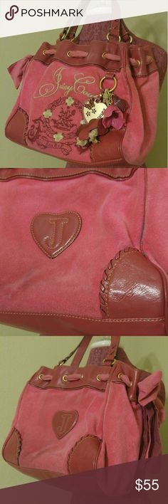 Juicy Couture shoulder bag with wallet Early 2000s terry cloth handbag with matching wallet. Bag shows signs of wear therefore needs cleaning. Juicy Couture Bags Shoulder Bags