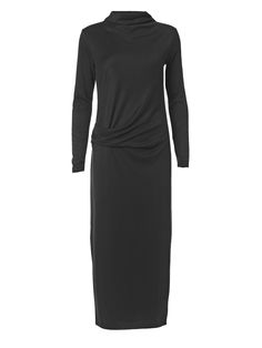 Perfect for day-to-night, this stretch satin-blend dress is gently gathered at the side to accentuate the waist. The tapered sleeves balance the silhouette. Wear yours with metallic accessories.