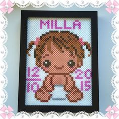Custom baby girl frame hama beads by design_by_sofia