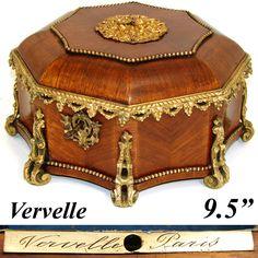 "Antique VERVELLE Marked 9.5"" Kingwood & Gilt Ormolu Jewelry or Desk Box"