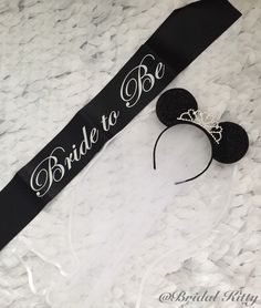 Disney Bachelorette Party Bridal Shower Minnie Mouse Ears Tiara Headband & Bride To Be Sash