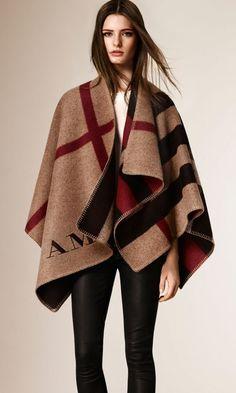 The Check Blanket Poncho Burberry Plaid
