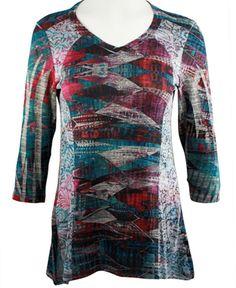 Cubism - Garment Flow, Burnout Side Panels V-Neck, 3/4 Sleeve Fashion Top