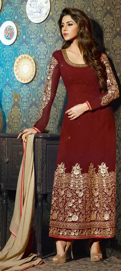 Red and Maroon color family semi-stiched Party Wear Salwar Kameez. Disney Wedding Dresses, Indian Wedding Outfits, Pakistani Outfits, Pakistani Clothing, Abaya Fashion, Indian Fashion, Fashion Dresses, Women's Fashion, Churidar Suits
