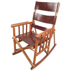 Mid-Century Modern Costa Rican Leather Campaign Folding Rocking Chair For Sale at