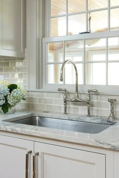 Pinney Designs - kitchens - Benjamin Moore - Revere Pewter - light gray kitchen cabinets, ivory supreme quartzite counters, stainless steel undermount sink, polished chrome faucet, polished chrome bridge faucet,nickel hardware